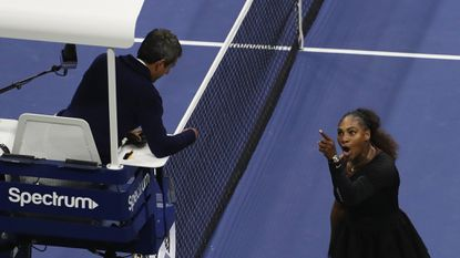 NEW YORK, NY - SEPTEMBER 08: Serena Williams of the United States argues with umpire Carlos Ramos during her Women's Singles finals match against Naomi Osaka of Japan.