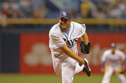 Heath Bell pitches for the Tampa bay Rays against the Minnesota Twins at Tropicana Field on April 23, 2014.