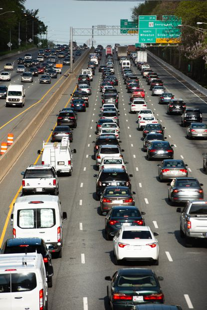 Evening rush hour traffic is pictured on the Capital Beltway.