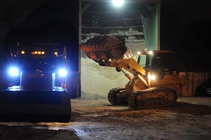 At the State Highway Administration facility on Falls Road in Baltimore County, salt trucks and plows prepare for a January snow.