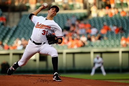 Ubaldo Jimenez of the Baltimore Orioles pitches against the Toronto Blue Jays during the first inning at Oriole Park at Camden Yards on May 11, 2015 in Baltimore.