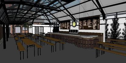 A rendering of the interior of the new Leinenkugel's Beer Garden at Power Plant Live