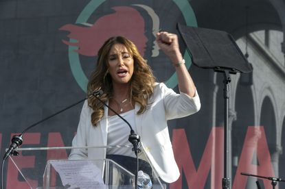 Caitlyn Jenner speaks at the 4th Women's March in Los Angeles on Jan. 18, 2020. She is exploring a run for governor in California. (AP Photo/Damian Dovarganes)