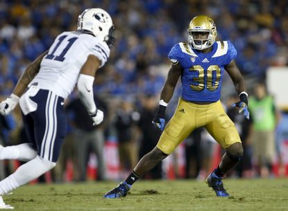 UCLA linebacker Myles Jack in action against BYU during an NCAA college football game in Pasadena, Calif., on Sept. 19, 2015.