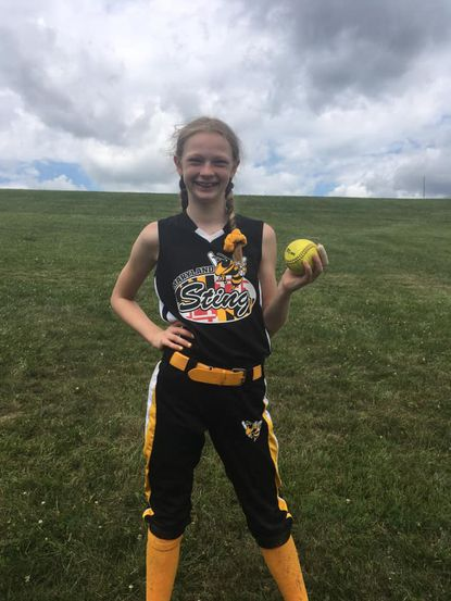 Maryland Sting 10-under softball player Zoe Malbrough hit grand slams in back-to-back games July 11 in the Central Maryland League tournament at Mayeski Park.