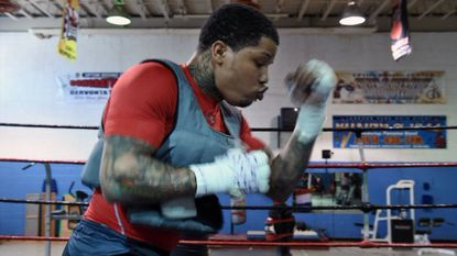 Gervonta Davis works out at Upton Boxing Center with trainer Calvin Ford in March 2017.