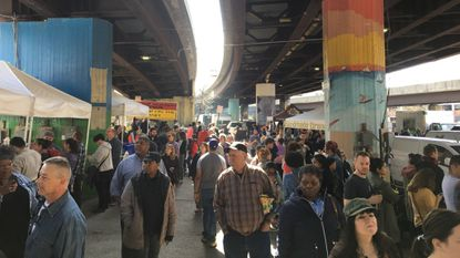 The Baltimore Farmers' Market & Bazaar was crowded on its first day of the season. It runs from 7 a.m. to noon each Sunday until Dec. 22. (Colin Campbell/The Baltimore Sun)