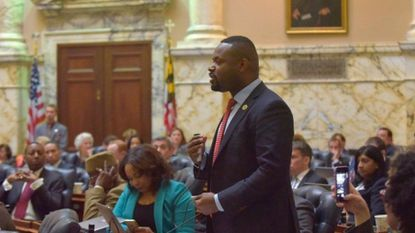 Del. Cory McCray, a Baltimore Democrat elected this year to the state Senate, speaks on the House of Delegates floor.