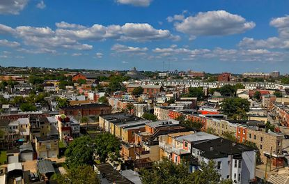 View of Pigtown in southwest Baltimore, view to the north.