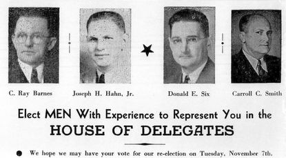 A campaign advertisement for the Maryland House of Delegates from Nov. 7, 1950.