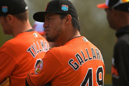 Orioles pitcher Yovani Gallardo during his first day in a Baltimore uniform working out at at the Ed Smith Stadium complex on Feb. 25, 2016.
