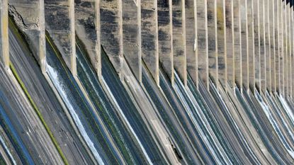 Water runs through Conowingo Dam hydroelectric plant during an open house.