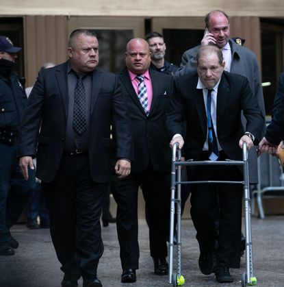 NEW YORK, NY - DECEMBER 11: Movie producer Harvey Weinstein departs from criminal court after a bail hearing on December 11, 2019 in New York City. Weinstein was in court for a ruling on whether he will remain free on bail or if his bail will be raised to $5 million before his trial starts January 6. (Photo by Jeenah Moon/Getty Images)