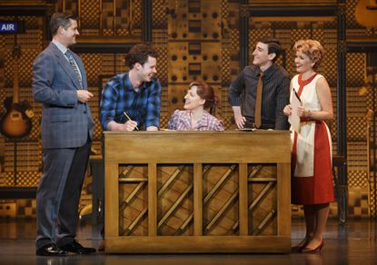 "From left: Curt Bouril (Don Kirshner), Liam Tobin (Gerry Goffin), Abby Mueller (Carole King), Ben Fankhauser (Barry Mann) and Becky Gulsvig (Cynthia Weil) in national touring production of ""Beautiful."""