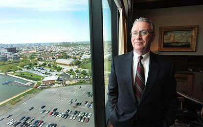 Ed Hale, founder of First Mariner Bank, is pictured in his 16th floor office in the First Mariner Tower.