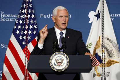 Vice President Mike Pence speaks at the Federalist Society's annual Executive Branch Review Conferenceon May 8, 2019, in Washington.