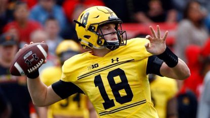 Max Bortenschlager throws to a receiver in the first half of a game against Indiana in College Park. The former third-string, a pocket passer in a read-option offense, has kept alive Maryland's bid to become bowl eligible.