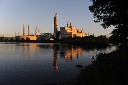 Left, in background, Brandon Shores Generating Station and, right, Herbert A. Wagner Generating Station as seen across Cox Creek.