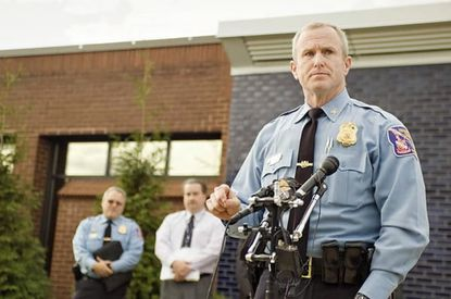 Howard County police chief Bill McMahon discusses the need for a third district police station. McMahon is pictured here outside police headquarters in Ellicott City.