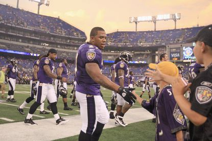 Ravens running back Ray Ricegreets fans before the start of a Thursday's preseason game against the Washington Redskins at M&T Bank Stadium