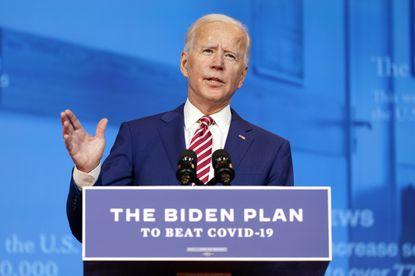 Democratic presidential candidate former Vice President Joe Biden speaks about coronavirus at The Queen theater, Friday, Oct. 23, in Wilmington, Delaware.