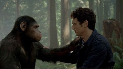"""James Franco shares a moment with Caesar in """"Rise of the Planet of the Apes."""""""