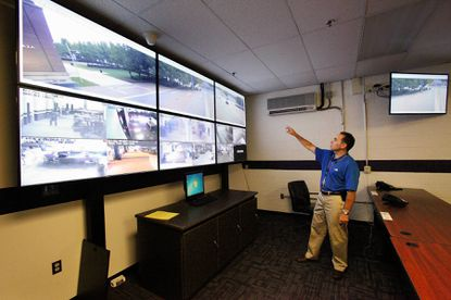 Roy Sommerhof shows some of the video security features at M&T Bank Stadium.