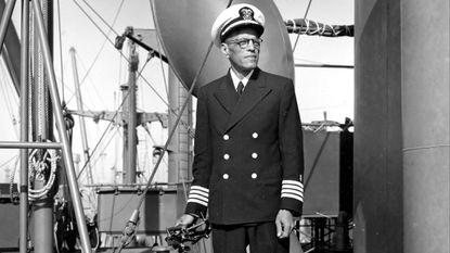 Capt. Hugh Mulzac, America's first black shipmaster, is shown aboard his commanding Liberty ship The Booker T. Washington on Oct. 23, 1942.