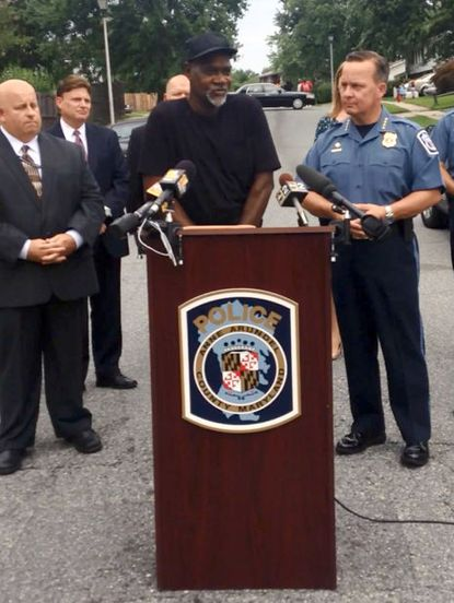 """Charles Brown talks about his grandson, Shar-Ron Mason, at a police news conference Monday announcing charges in his death. """"I miss Shar-Ron,"""" he said. """"He just didn't really get a chance to live his life, he had just started."""""""