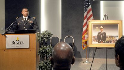 First. Lt. Marcus Craig speaks during a ceremony Wednesday announcing the launch of the 2nd. Lt. Richard W. Collins III Leadership with Honor Scholarship at Bowie State University.