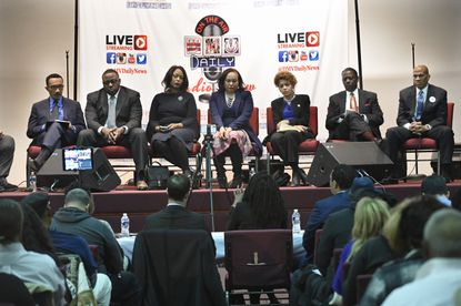 In Maryland's 7th Congressional District race, leading female candidates file their legal disclosure forms, while male candidates fail to do so. Democratic candidates (l-r) Kweisi Mfume, Saafir Rabb, Maya Rockeymoore Cummings, Jill Carter, Terri Hill, Talmadge Branch and F. Michael Higginbotham debated Monday at Soul Harvest Church-Ministries.