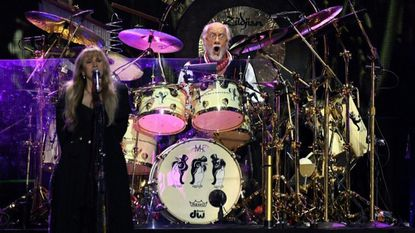 Fleetwood Mac singer Stevie Nicks and drummer Mick Fleetwood are shown at at a Sept. concert in Las Vegas. The band performed Saturday night at SDSU's Viejas Arena, where Fleetwood's energetic drumming and exuberant stage presence counterbalanced the tired-sounding Nicks.