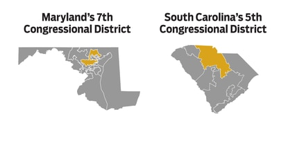 Maryland's 7th District and South Carolina's 5th District