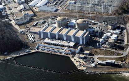 An aerial view of the Calvert Cliffs Nuclear Power Plant in Southern Maryland.