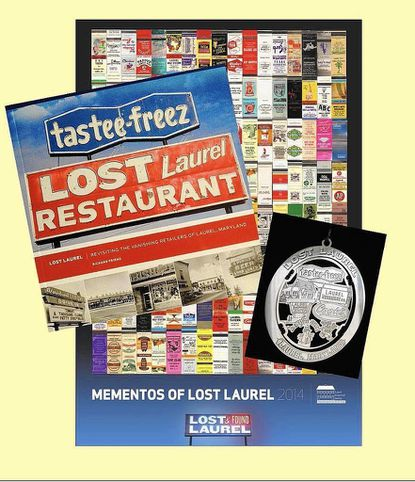 """Among the items for sale in the Laurel Museum shop are """"Lost Laurel,"""" by Richard Friend; a poster created from Friend's collection of Laurel matchbook covers; and the Laurel Historical Society's newest ornament, which reflects the """"Lost Laurel"""" theme of the museum's current exhibit."""