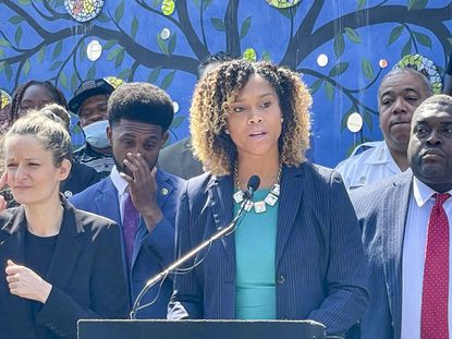 Baltimore State's Attorney Marilyn Mosby spoke in favor of Mayor Brandon Scott's crime plan at a news conference in July.