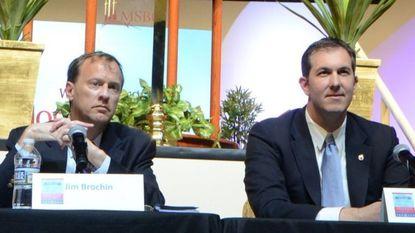 State Sen. Jim Brochin, a Cockeysville Democrat, left, and former state Del. Johnny Olszewski at an April forum.