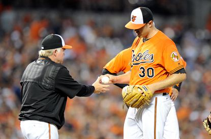 BALTIMORE, MD - AUGUST 20: Chris Tillman #30 of the Baltimore Orioles is taken out of the game by manager Buck Showalter #26 in the third inning against the Houston Astros at Oriole Park at Camden Yards on August 20, 2016 in Baltimore, Maryland. (Photo by Greg Fiume/Getty Images) ** OUTS - ELSENT, FPG, CM - OUTS * NM, PH, VA if sourced by CT, LA or MoD **