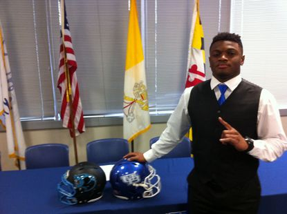 Pallotti senior Justin Mulbah is projected to play linebacker at the University of Buffalo. He signed his National Letter of Intent last week.