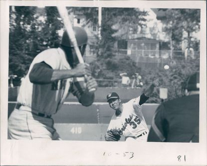 Mike Cuellar delivers first pitch of game to Mets's Tommie Agee in the 1969 World Series.