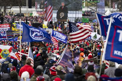 President Donald Trump is seen on a screen as his supporters cheer during a rally on the National Mall on January 6, 2021 in Washington, DC. (Getty Images).