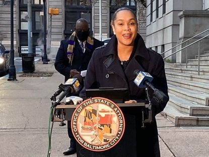 Marilyn Mosby, Baltimore City State's Attorney, speaks to the media about hiring a public defender as part of an effort to free elderly prisoners. December 7, 2020