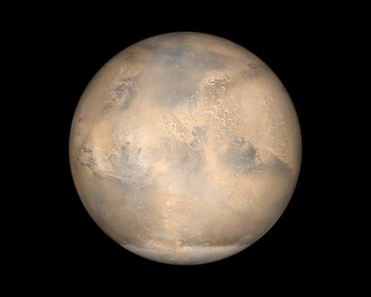 A simulated view of Mars as it would be seen from the Mars Global Surveyor spacecraft.
