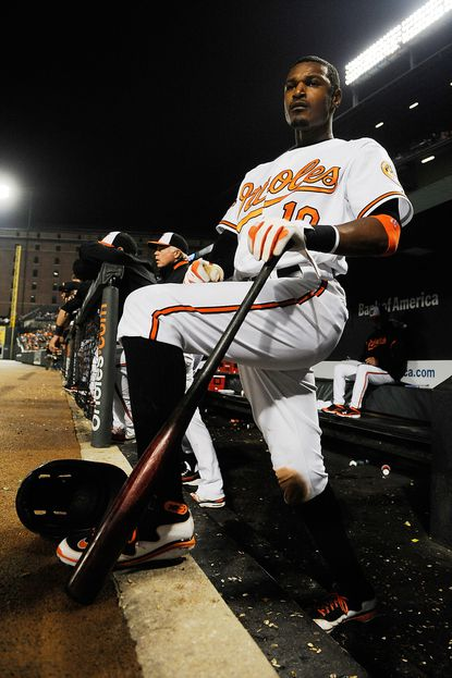 Adam Jones looks on during a game at Camden Yards.