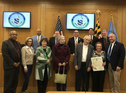 Harry and Shirley Graves, pictured in the lower right along with Harford County Councilman Pat Vincenti, were honored as Harford Living Treasures for their volunteer efforts in Havre de Grace.