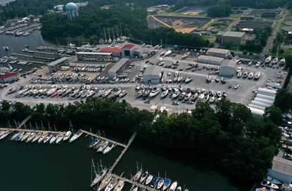 Bert Jabin Yacht Yard viewed from Back Creek. A final report from the Annapolis Maritime Task Force, made recommendations to improve the city's maritime zones. One of the task force members was Rod Jabin, owner and president of Bert Jabin Yacht Yard on Edgewood Road. It's the largest yacht yard in the city.