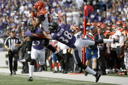 Cincinnati Bengals wide receiver Marvin Jones catches the ball while cornerback Rashaan Melvin defends in the first quarter.