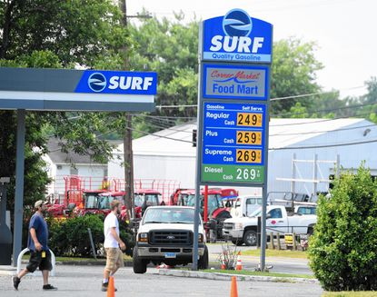 """Gas was selling for 50 cents a gallon more than anywhere else in Harford County at the """"Surf"""" station in Churchville on Tuesday, actually a mocked up vacant station being used for a scene in the popular Netflix show """"House of Cards"""""""