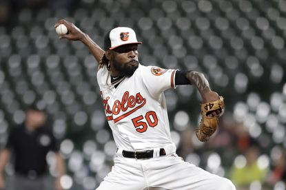 Orioles relief pitcher Miguel Castro throws a pitch to a Toronto Blue Jays batter during the ninth inning Wednesday, Sept. 18, 2019, in Baltimore.