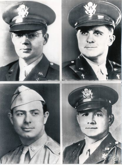 The four U.S. military chaplains who went down with troop ship Dorchester in World War II were, top left clockwise, Rev. John P. Washington, Rev. Clark Poling, Rev. George L. Fox and Rabbi Alexander D. Goode.